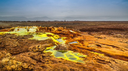 Panorama inside Dallol volcanic crater in Danakil depression, Ethiopia