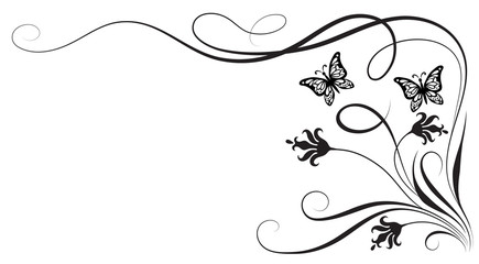 Wall Mural - Decorative floral corner ornament with flowers and butterfly