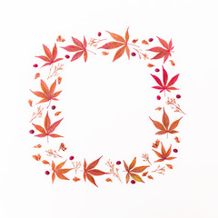 Frame made of autumn fallen maple leaves on white background. Flat lay, top view