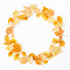 Autumn round frame made of autumn leaves on white background. Flat lay, top view