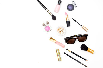 Styled fashion accessories on white background. Flat lay