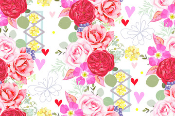 Seamless pattern with bouquets and abstract elements 2
