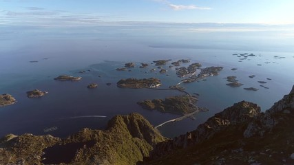 Wall Mural - Aerial view of Henningsvaer from the mount Festvagtinden in Norway