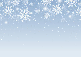 Christmas background design of white snowflake and snow with copy space