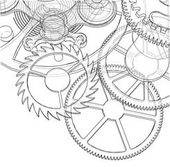 Cogs and Gears of Clock. Vector