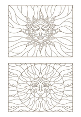 Set contour illustrations of stained glass sun with face,  dark outline on a white background , isolate