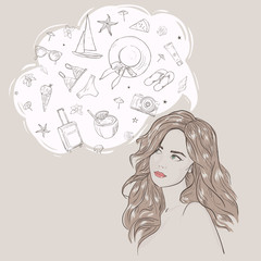 Young attractive woman portrait. Drawn elegant lady dreaming vacation. Hand drawn travel weekend. Beautiful girl.