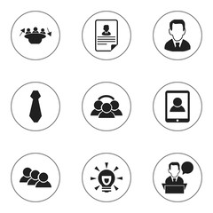Set Of 9 Editable Trade Icons. Includes Symbols Such As Cravat, Unity, Meeting And More. Can Be Used For Web, Mobile, UI And Infographic Design.