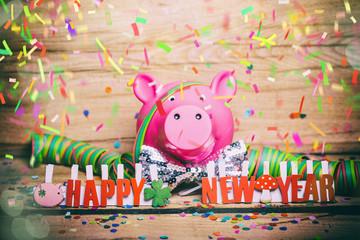 Silvester Karte Wünsche Glück Schwein