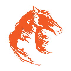 Horse head with flying mane. Vector hand drowing illustration. Isolated mustang image on white background.