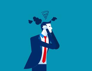 Businessman head have smoke. Concept business vector illustration.