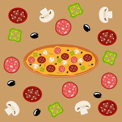 Hot pizza slice with melting cheese baked sauce background meal tomato dinner fresh salami slice delicious vector illustration.