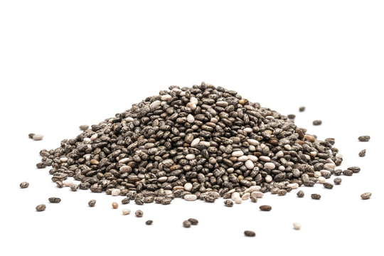 Pile of healthy chia seeds isolated on a white background
