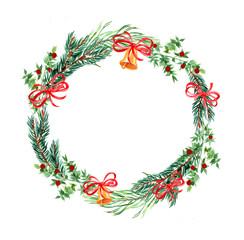 Christmas and new year wreath, illustration of round garland with botanical design elements, hand painting decorative isolated pattern for your celebrating text