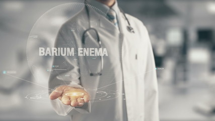 Doctor holding in hand Barium Enema