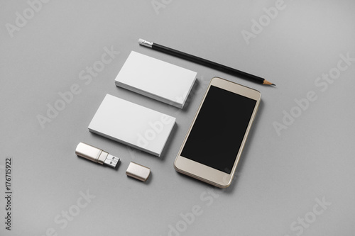 Gadgets and stationery mockup of blank business cards pencil usb mockup of blank business cards pencil usb flash drive and reheart Gallery
