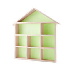 Green wooden house shaped shelf isolated on white