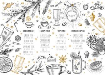 Restaurant cafe menu. Merry Christmas