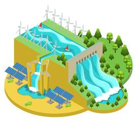 Isometric Alternative Energy Sources Concept