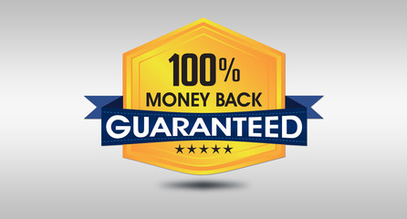 100% Money Back Guarantee Seal on White background