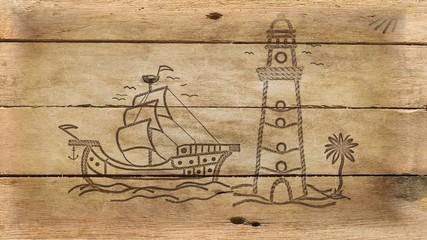 Schiff und Leuchtturm auf altem Holz