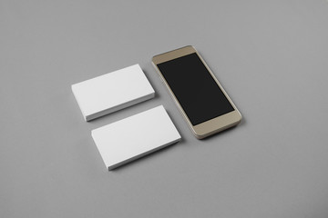 Mockup of blank business cards pencil and cellphone with blank see more reheart Gallery