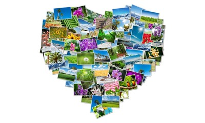 Heart shape made of nature photos