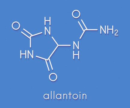 Allantoin molecule. Often used in cosmetics. Skeletal formula.