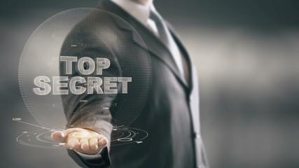 Top Secret Businessman Holding in Hand New technologies
