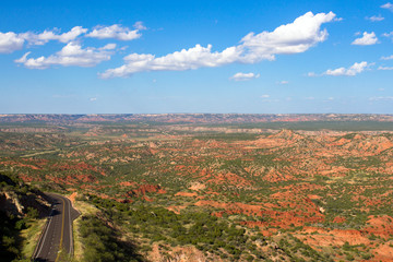 Scenic Texas Hwy 207, known as Hamblen Drive, runs through red-rock canyon country in the Panhandle