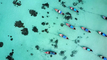 Stunning turquoise sea at Lipe Island in Thailand , aerial view
