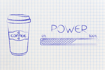 Coffee travel mug next to Power progress bar loading