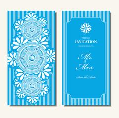 Wedding invitation card, elegant blue diamond and white floral round pattern background , indian design vector