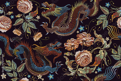 df37a7eca Embroidery vintage chinese dragons and flowers peonies seamless pattern.  Classical embroidery asian dragons and beautiful peonies seamless pattern.