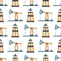 Oil industry production station extracting seamless pattern processing platform petroleum drilling technology vector illustration.