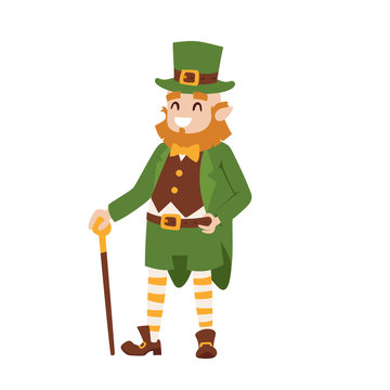 St. Patricks Day leprechaun man character cartoon style symbols irish traditional decoration design vector illustration