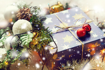 Christmas decorations and gift box. Christmas holiday background.
