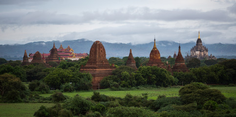 Landscape view with the old temples of Bagan, Myanmar (Burma)
