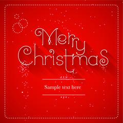Merry Christmas lettering blue background, vector illustration