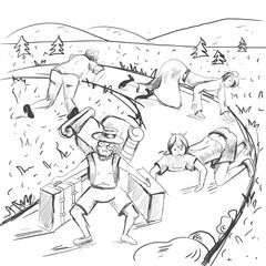 Comic strip. The end of a road is visible. Tired travelers are found a way from a mountains into civilization.