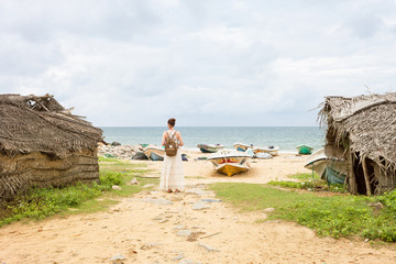 Woman at Talawila's fishing village, Sri Lanka