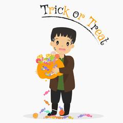 cute boy in Frankenstein costume holding a Halloween pumpkin full of candies, and falling candies. Halloween cartoon vector
