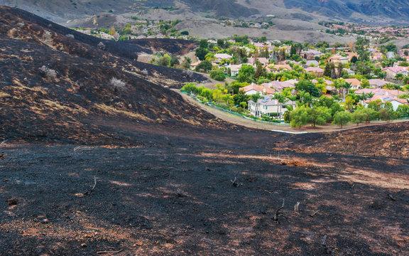 Wildfire Urban Interface with Burn Going to Edge of Neighborhood