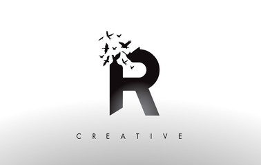 R Logo Letter with Flock of Birds Flying and Disintegrating from the Letter.