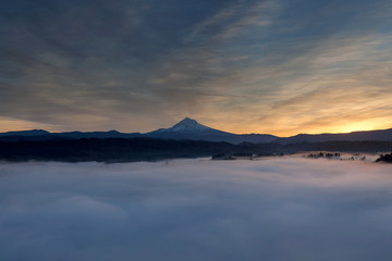 Rolling Fog over Mount Hood and Sandy River Valley USA America