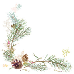 Framework with pine branches, cones, needles, decorative twigs and leaves on white background, hand digital draw, watercolor style, decorative botanical illustration for design, Christmas tree, vector