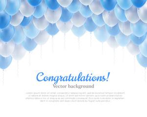 Congratulation banner blue flying balls background above. Congratulation banner with blue flying balls background from above. Balls backdrop as a vector illustration