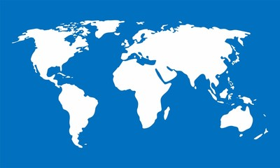 White World map on blue background, Vector Illustration