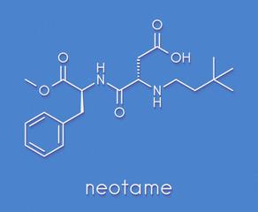 Neotame (E961) sugar substitute molecule. Skeletal formula.