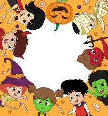 Kis dress up in halloween with blank frame.Halloween background.[pumpkin,witch,evil,zombie,frankenstein,dracula].